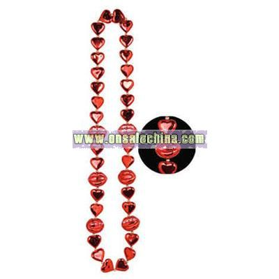 Heart beads with kiss me lips