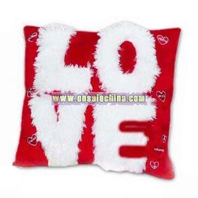 LOVE pillow Novelty Plush LOVE Radio Pillow with Connector for MP3 Player and Flashing LED Lights