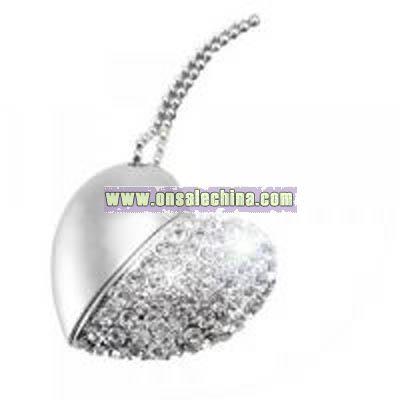 USB Flash Drive Necklace - Jeweled Metal Heart