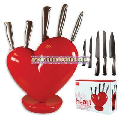 Red Heart Knife Block