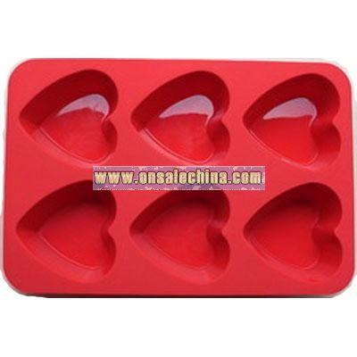 Heart Motif Silicone Cake Mold-6cav