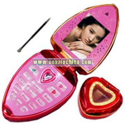 1.5inch Dual Sims/Bluetooth FM Heart-Shaped Mobile Phone