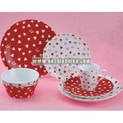 16 PCS Dinner Set with Heart Pattern