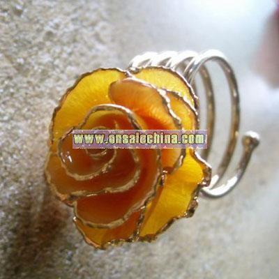 24k Gold Rose Rings