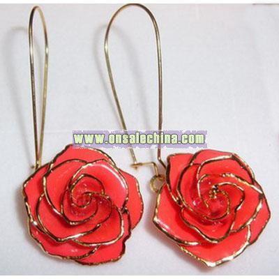 24k Gold Roses Earbob