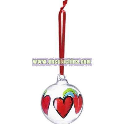 Hearts - Handpainted ball ornament