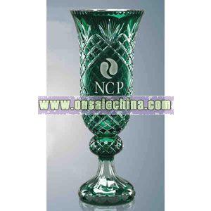 Crystal trophy vase