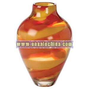 Crystal red and amber vase