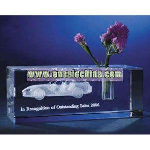 Crystal block award with vase