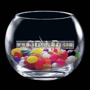Clear smooth bowl shaped vase