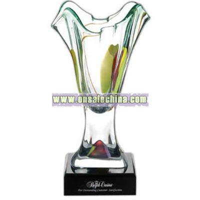 Lead crystal art glass vase