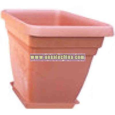 Square plastic potting vase