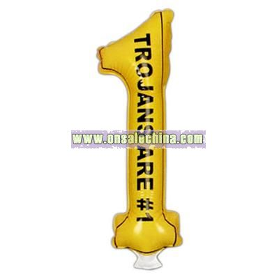Pair of number one shaped inflatable thunder sticks