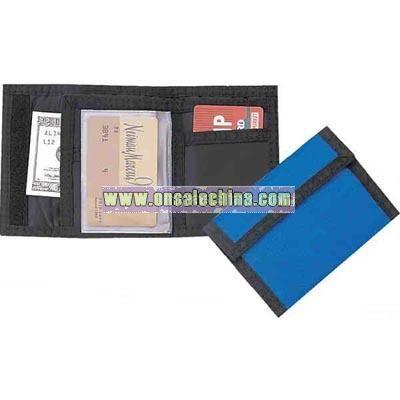 nylon wallet with velcro closure.