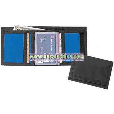Tri-fold 420 denier nylon wallet with coin compartment and velcro closure