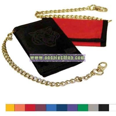 Tri fold 70 denier polyester wallet with heavy security chain