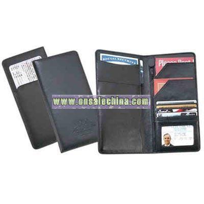 Black leatherette passport wallet