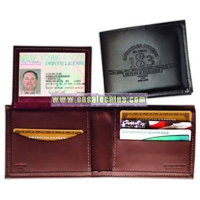 Men's regency cowhide leather billfold with 3 credit card pockets
