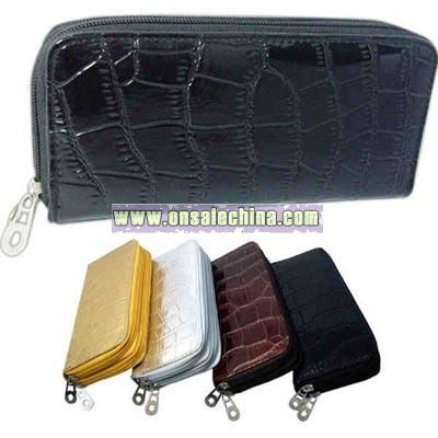 Snakeskin faux leather wallet with double zipper