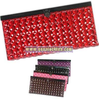 Dots pattern faux leather accordion style wallet