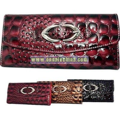 Crocodile faux leather clutch wallet with buckle