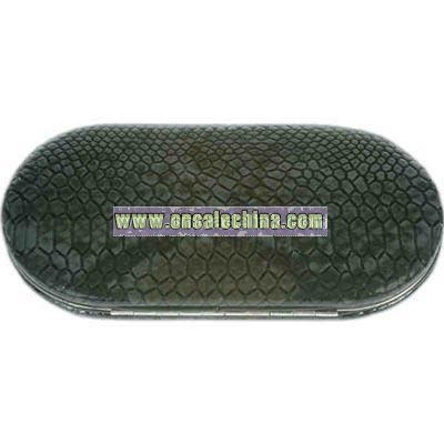Dark Gray snakeskin pattern faux leather oval shaped wallet