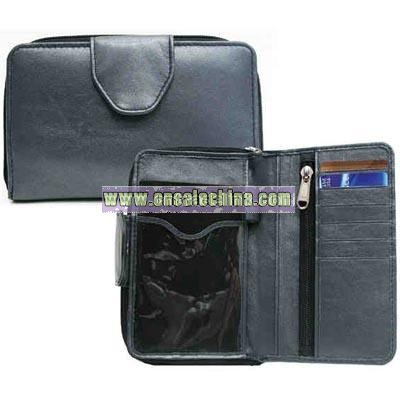 Zippered organizer wallet with passport pocket