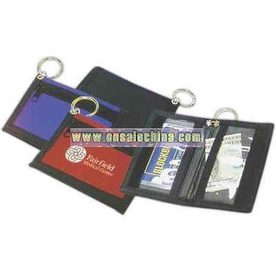 Fine nylon bi-fold wallet with key ring.