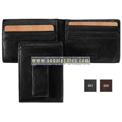 Men's genuine leather ID bifold with leather covered money clip