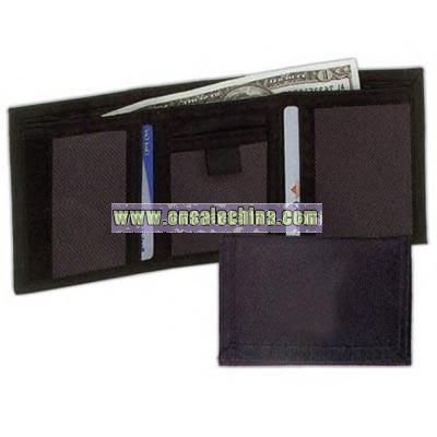 Black 600 denier polyester tri-fold blank wallet with coin compartment