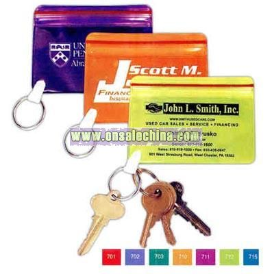Translucent waterproof vinyl wallet with key ring