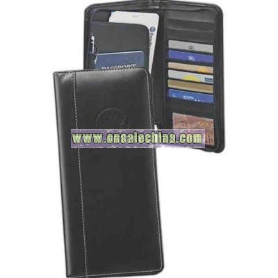 Black deluxe bonded leather zippered passport case with multi-pocket interior