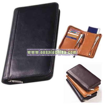 Glazed leather passport wallet