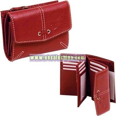 Ladies' genuine leather tri-fold wallet