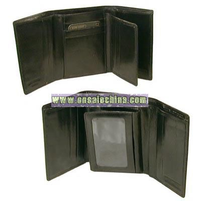 Hand stained Italian leather super tri fold wallet with wing