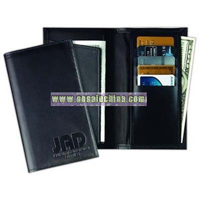 Top grain cowhide leather pocket wallet