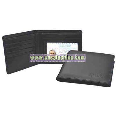 Black leatherette bi-fold wallet