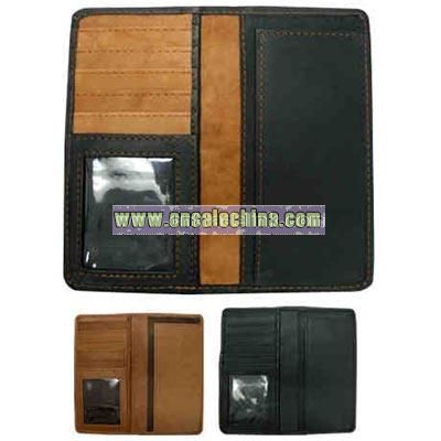 Check book cover wallet with credit card pockets