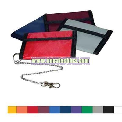 Bifold 70 denier wallet with security chain