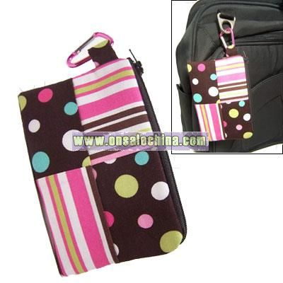 Mini Coin Purse Dots and Stripes with Carabiner