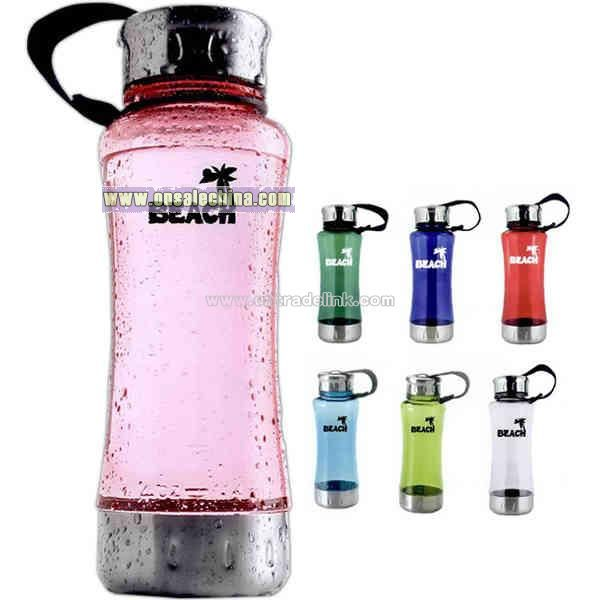 Water bottle with stainless steel cap and bottom