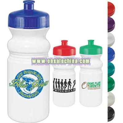20 oz. water bottle with wide mouth design and accent colored leak proof pull spout
