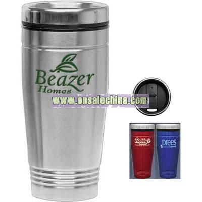 18 oz Stainless steel tumbler with chrome thumb slide lid and black plastic liner