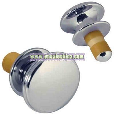 Silver flat top wine bottle stopper