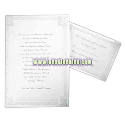 Bright white card with celtic border and embossed pearl highlights