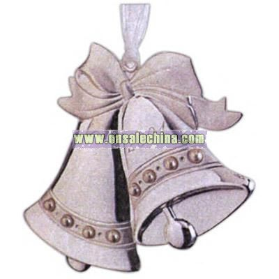 Wedding Collection - Silvertone dapped double bell with pearls and white chiffon ribbon