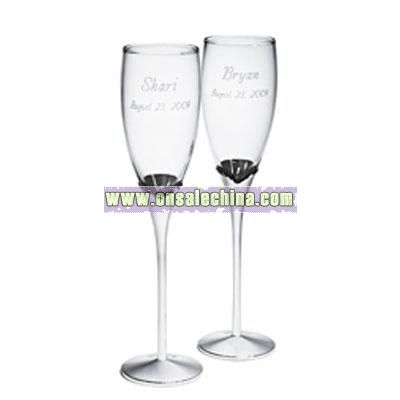 Glass Flutes with Nickel Plated Stems
