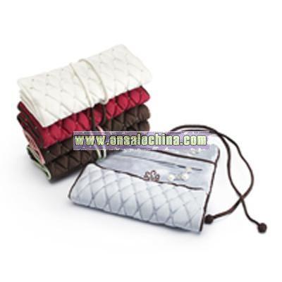Diamond-pattern Silk Jewelry Roll