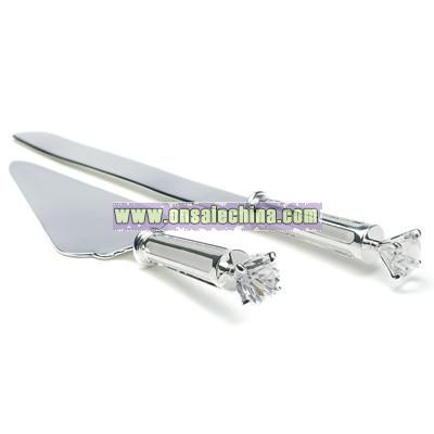 Silver Plated Cake Serving Set with Diamond