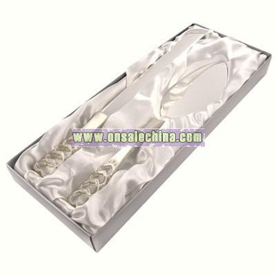 Silver Heart Handle Cake Server & Knife Set w/ Swarovski Crystals
